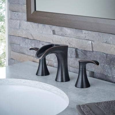 Brea 8 in. Widespread 2-Handle Waterfall Bathroom Faucet in Tuscan Bronze (2-Pack Combo)