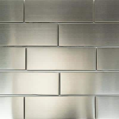 Stainless Steel 2 in. x 6 in. Stainless Steel Subway Wall Tile (120-piece, 10 sq. ft./case)