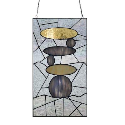 Grey Zen Stone Art Stained Glass Window Panel