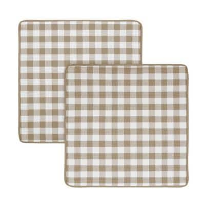 Buffalo Check Taupe Woven 18 in. x 18 in. Throw Pillow Covers (Set of 2)
