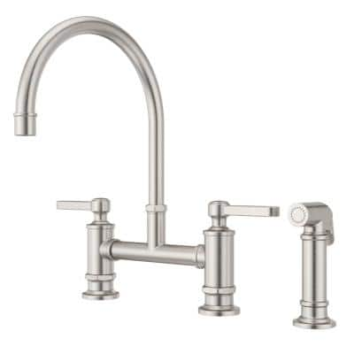 Port Haven 2-Handle Bridge Kitchen Faucet in Stainless Steel with Optional Side Sprayer