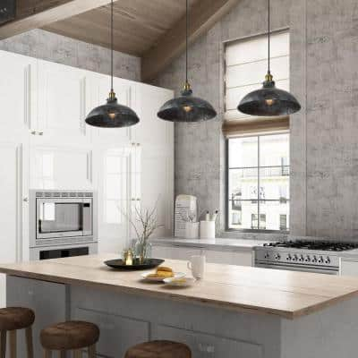 Farmhouse 14 in. 1-Light Dome Shade Industrial Barn Light Pendant with Antique Brass Socket Rustic Gray Finish