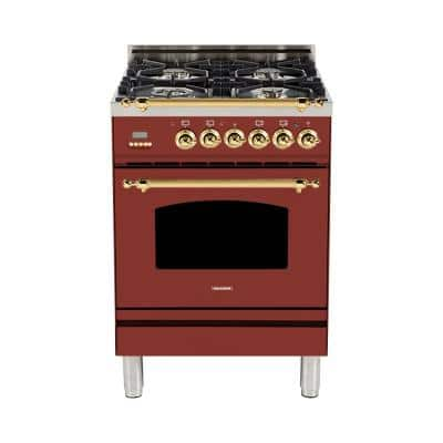 24 in. 2.4 cu. ft. Single Oven Italian Gas Range with True Convection 4 Burners, LP Gas, Brass Trim in Burgundy