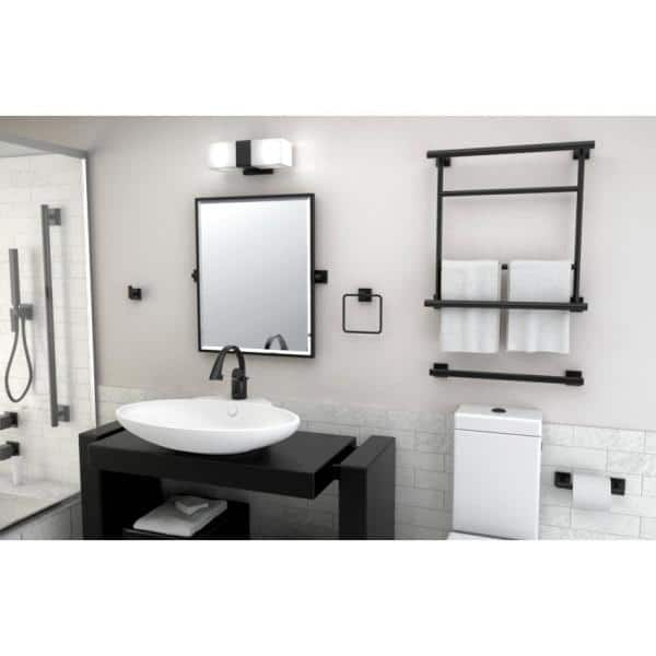 Gatco Elevate 25 In X 23 63 In Framed Rectangle Mirror In Matte Black 4059xfsm The Home Depot