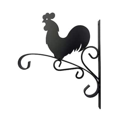 12 in. Metal Rooster Plant Bracket