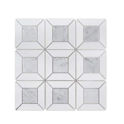 Doheny Thassos White 12.375 in. x 12.375 in. Basket Weave Mixed Marble Wall and Floor Mosaic Tile (1.063 sq. ft./Each)