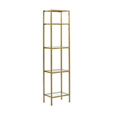 73 in. Gold/Clear Metal 4-shelf Etagere Bookcase with Open Back