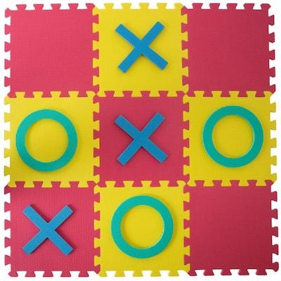 Multi-Colored 36 in. x 36 in. x 0.325 in. Giant Interlocking Foam Square Tic-Tac-Toe Game
