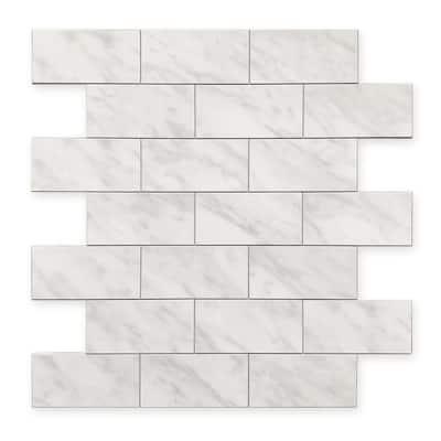 DIP Light Travertine Subway Tile 12 in. x 12 in. Self-Adhesive PVC Backsplash
