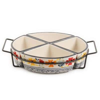 Luxembourg 5-Piece Divided Serving Dish Set with Metal Rack