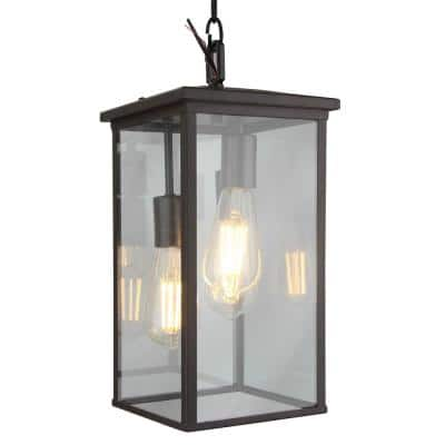 Large 3-Light Bronze Outdoor Pendant Light