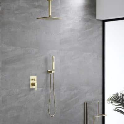 1-Spray Patterns with 2.38 GPM 10 in. Ceiling Mount Dual Shower Heads with Rough-In Valve Body and Trim in Brushed Gold