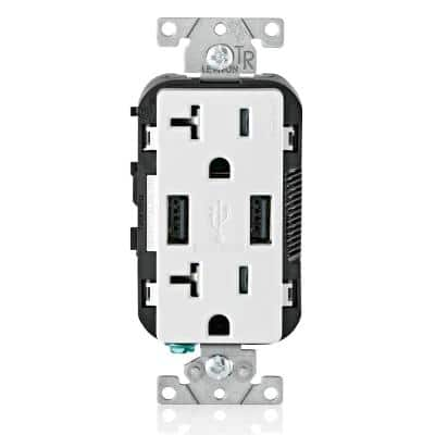 20 Amp 125-Volt Decora Combination Duplex Outlet and USB Charger, White (3-Pack)