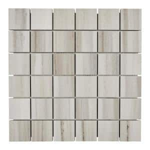 Marble View Linear Gray Marble Matte 12 in. x 12 in. x 9.5 mm Porcelain Mosaic Floor and Wall Tile (0.96 sq. ft./Each)