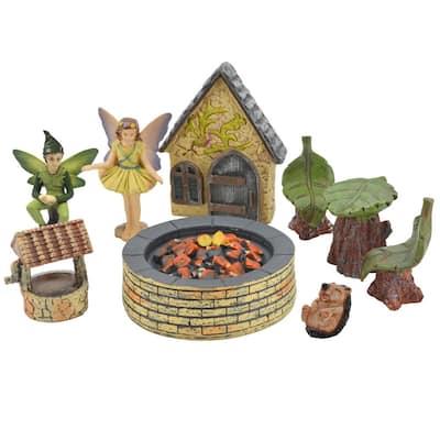 Pleasant Afternoon Polyresin Fairy Garden Kit (9-Piece)