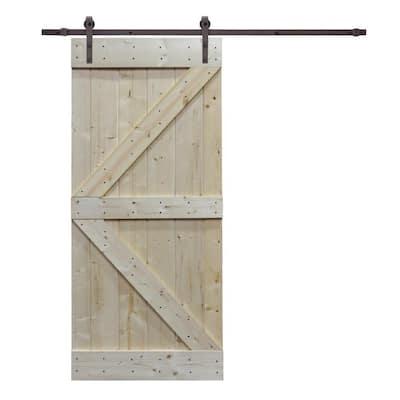 38 in. x 84 in. K Design Knotty Pine Wood Barn Door with Sliding Door Hardware Kit