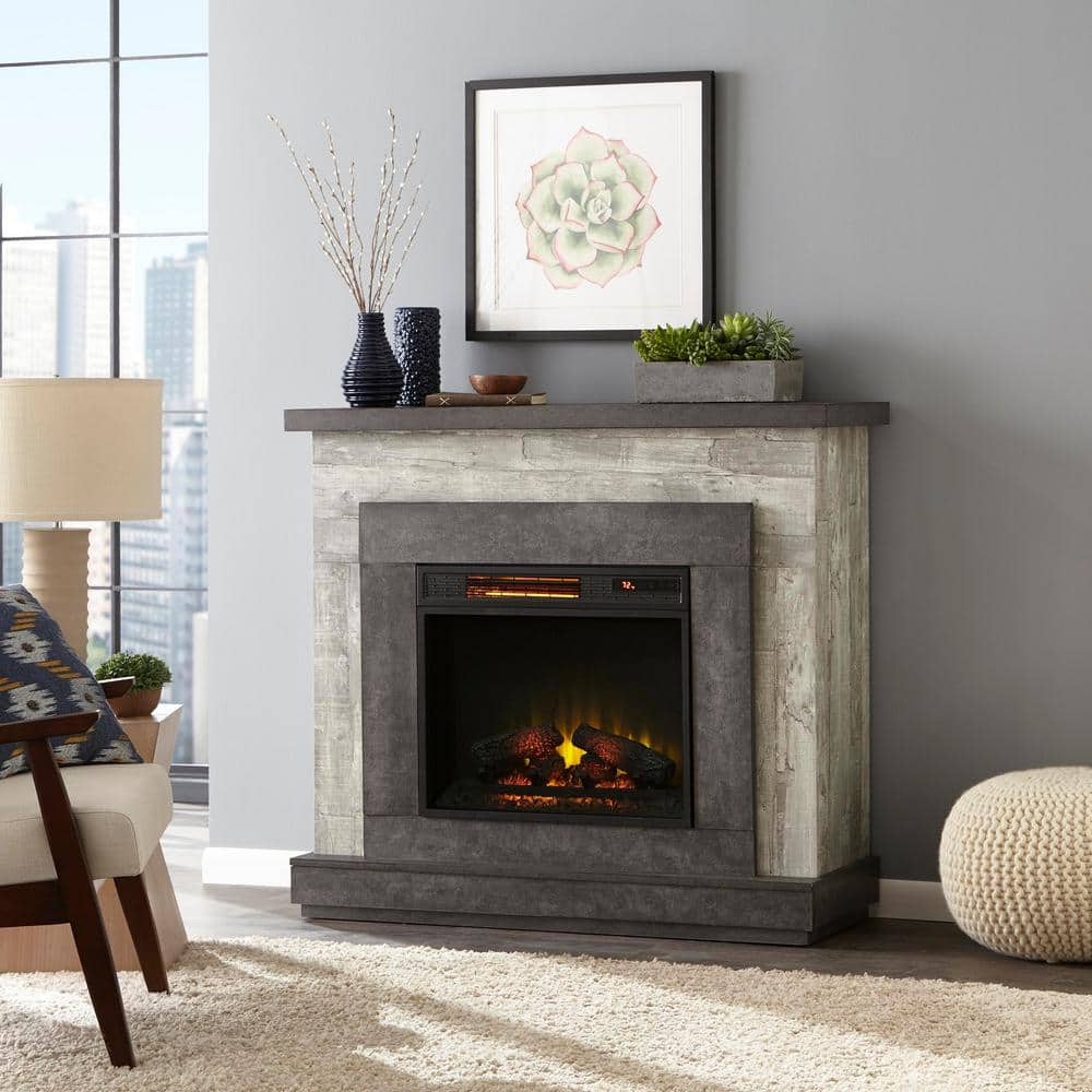 Home Decorators Collection Wildercliff 45 In Freestanding Wall Mantel Electric Fireplace In Driftwood 117956 The Home Depot