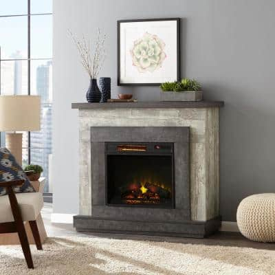 Wildercliff 45 in. Freestanding Wall Mantel Electric Fireplace in Driftwood