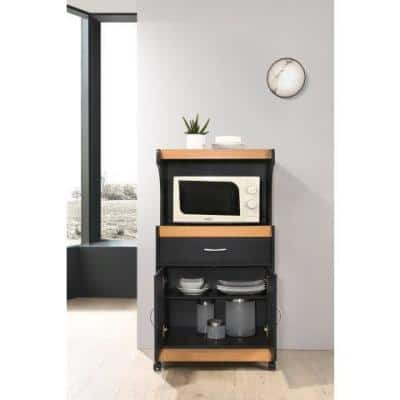 Black-Beech Microwave Cart with Storage