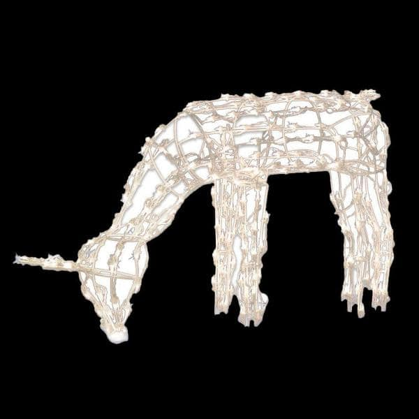 39 in. 150-Light Feeding Doe Sculpture Wireframe | The Home Depot