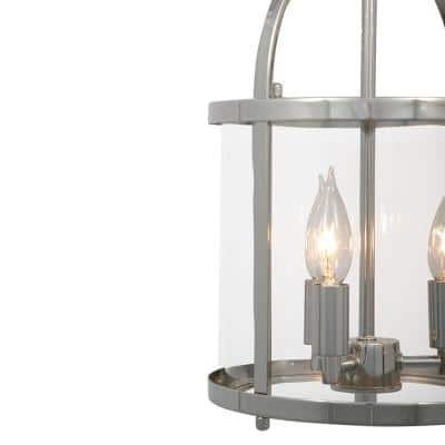 Round Cage Style 3-Light Polished Nickel Hanging Pendant with Clear Glass Shade