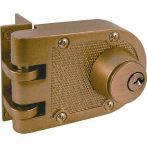 Jimmy-Resistant Deadlock, Diecast, Brass Color, Angle Strike, Double Cylinder