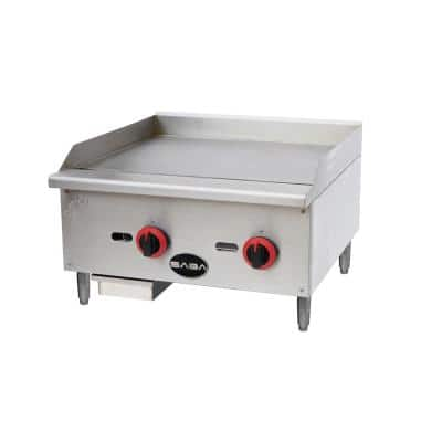 24 in. Commercial Griddle Gas Cooktop in Stainless Steel with 2 Burners