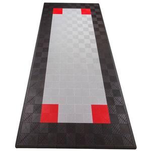 Black and Silver Single Car Pad Ribtrax Modular Tile Flooring (134 sq. ft./case)