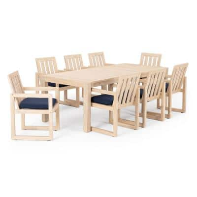 Benson 9-Piece Wood Patio Dining Set with Navy Blue Cushions