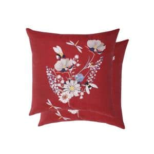Spring Bouquet Chili and Putty Square Outdoor Throw Pillows (2-Pack)