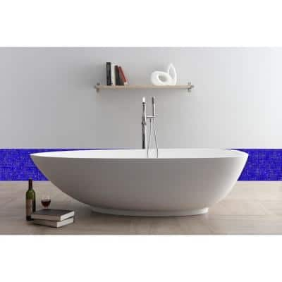 Galaxy Pulsar Blue Square Mosaic 0.3125 in. x 0.3125 in. Iridescent Glass Wall Tile (0.98 Sq. ft.)