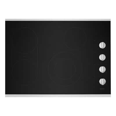 30 in. Radiant Electric Cooktop in Stainless Steel with 4 Elements and Reversible Grill, Griddle