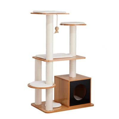 Natural Multi Level Cat Playground with Hideaway Cube