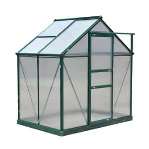 4 ft. x 6 ft. x 7 ft. Aluminum Polycarbonate Portable Walk-In Garden Greenhouse with Rooftop Vent and UV-Resistant Walls