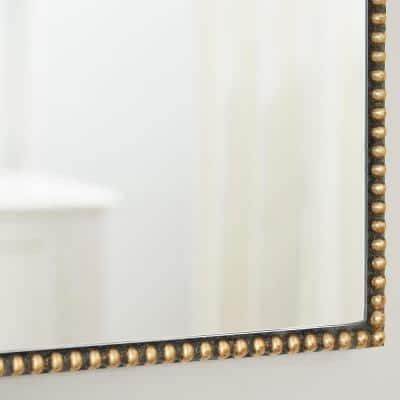 Medium Ornate Arched Gold Antiqued Classic Accent Mirror (35 in. H x 24 in. W)