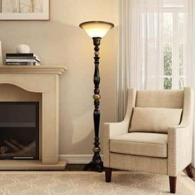 Title 20 71.7 in. Dark Oil Rubbed Bronze Torchiere LED Floor Lamp