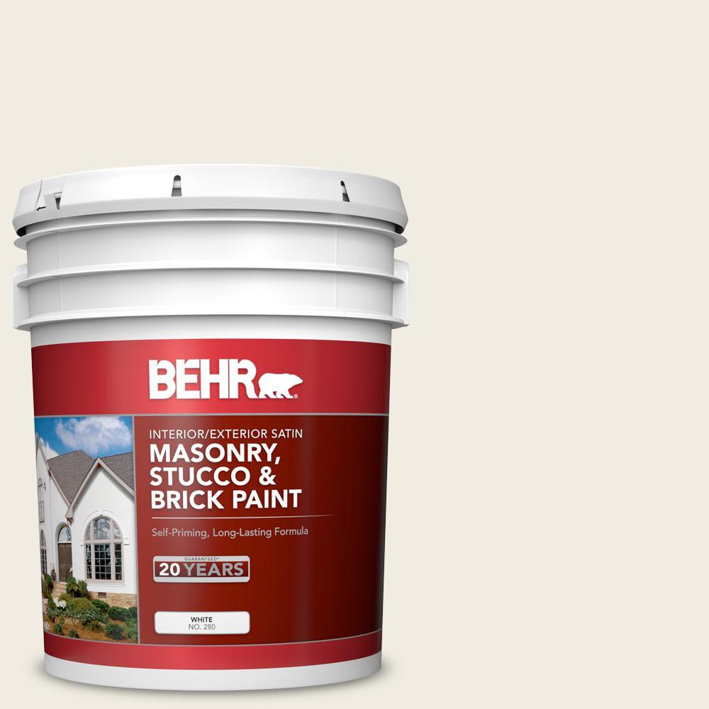 5 gal. #12 Swiss Coffee Satin Interior/Exterior Masonry, Stucco and Brick Paint