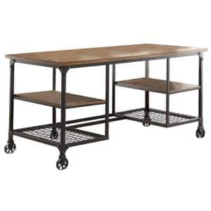 60 in. Rectangular Brown/Black Writing Desk with Wheels