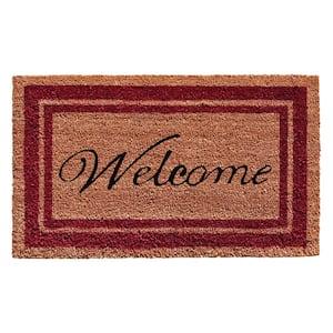 Burgundy Border Welcome Doormat 24 in. x 36 in.