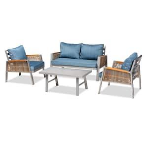 Nicholson 4-Piece Metal Patio Conversation Set with Blue Cushions