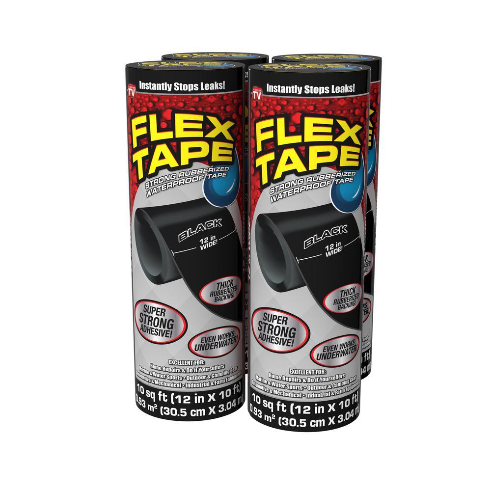 Flex Tape Black 12 in. x 10 ft. Strong Rubberized Waterproof Tape (4-Piece)