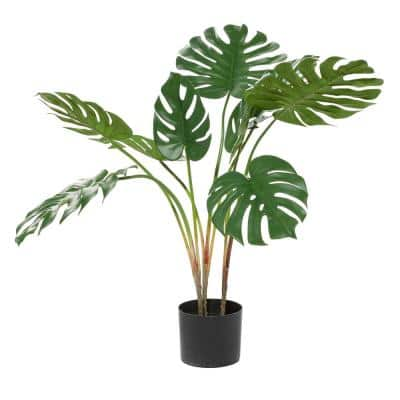 29 in. Green Monstera Leaf Decorations With Pot