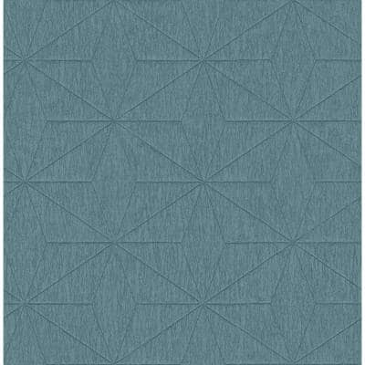 Bernice Teal Diamond Geometric Teal Paper Strippable Roll (Covers 56.4 sq. ft.)