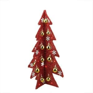 28 in. Battery Operated Decorated Red Tinsel LED Lighted Christmas Tree Table Top Decoration