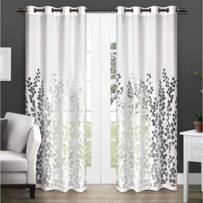 Winter White Leaf Grommet Sheer Curtain - 54 in. W x 84 in. L (Set of 2)