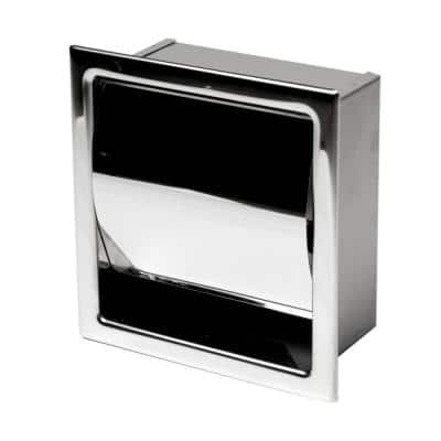 Recessed Toilet Paper Holder in Polished Stainless Steel