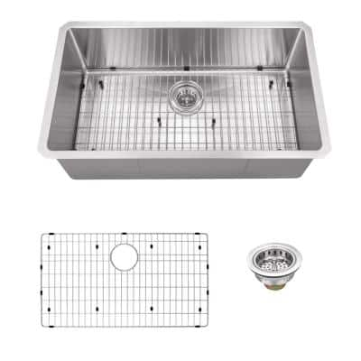 Undermount 16-Gauge Stainless Steel 32 in. 0-Hole Single Bowl Radius Kitchen Sink with Grid and Drain Assembly