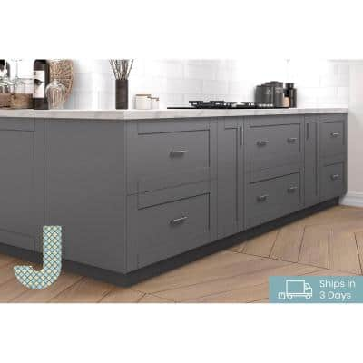 Shaker Assembled 30 in. x 94.5 in. x 24 in. Pantry Cabinet in Gray