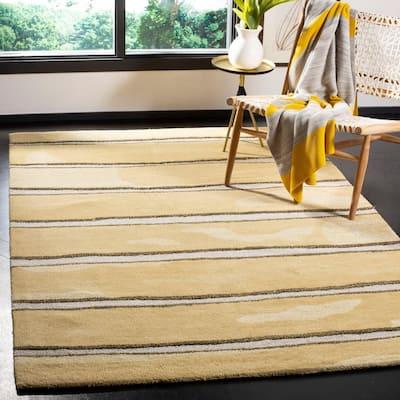 Martha Stewart Toffee Gold 8 ft. x 10 ft. Striped Area Rug