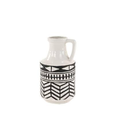 Black and White Aztec Ceramic Decorative Vase with Handle